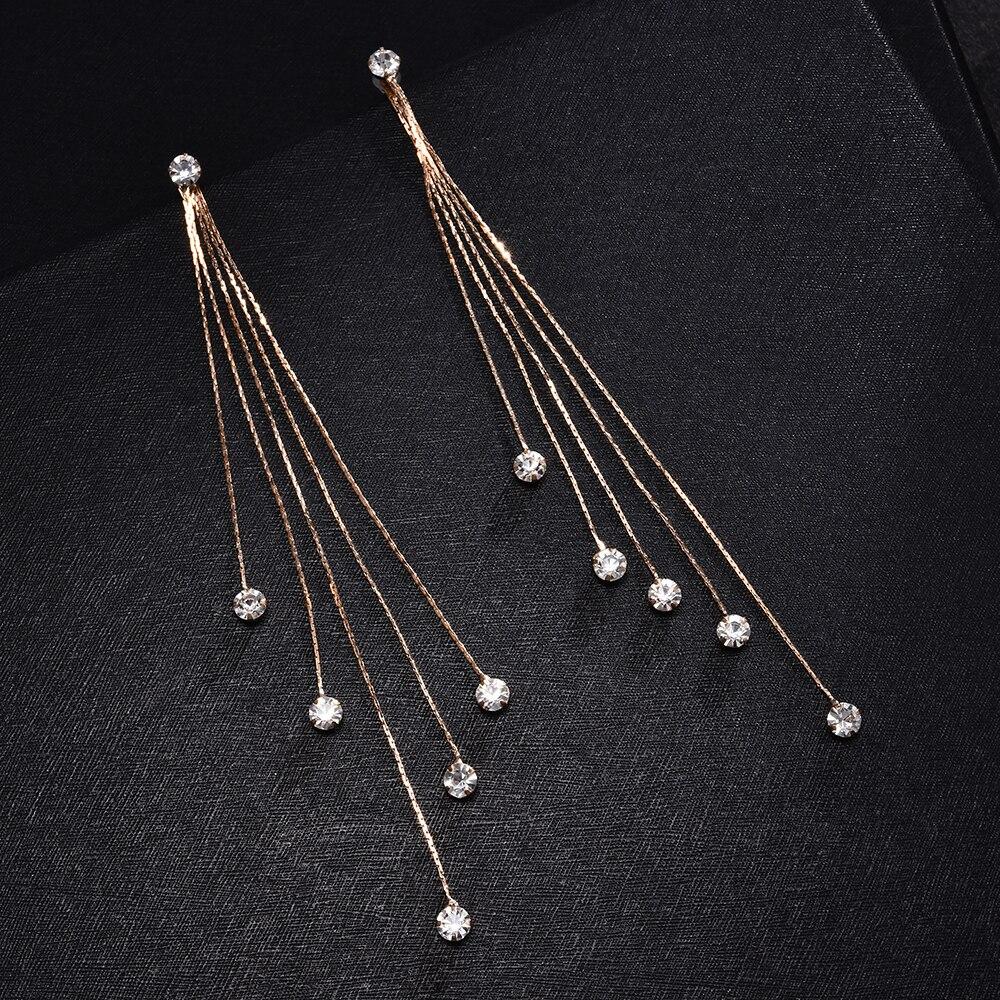 New Fashion 5 Chain Gold Drop Dangle Earrings Long Tassel Earrings for Women Crystal Statement Earrings Charm Jewelry