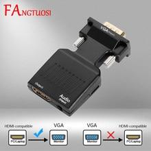 Fangtuosi Vga Naar Hdmi-Compatibel Adapter 720/1080P Man-vrouw Converter Met 3.5Mm Audio-ingang voor Hdtv Projector Pc Laptop