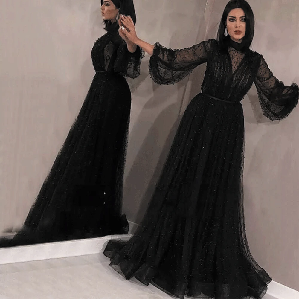 Black Muslim Long Sleeves Evening Dresses 2020 Elegant Saudi Arabic High Neck Pearls Tulle Pink Kaftan Dubai Formal Prom Dress