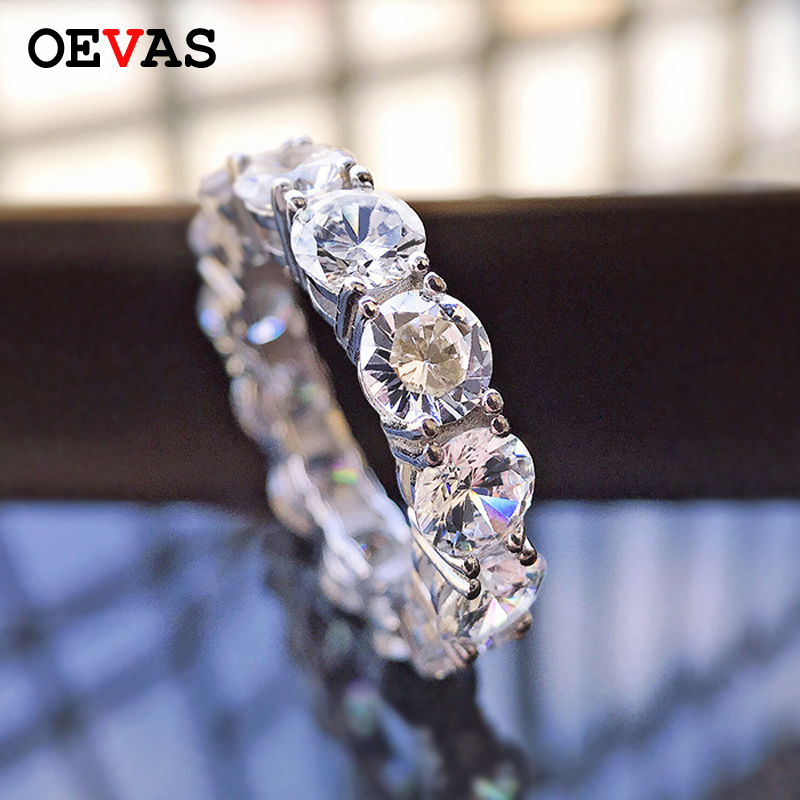 OEVAS 100% 925 Sterling Silver Sparkling 1 Row 5mm High Carbon Diamond Engagement Rings For Women Party Fine Jewelry Wholsale