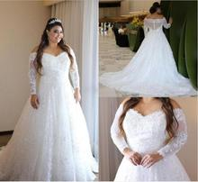Elegant Lace Plus Size Wedding Dresses Off The Shoulder Sheer Long Sleeves Bridal Gowns A Illusion Back Train Vestido De Novia
