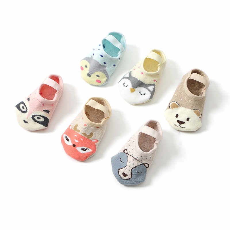 1 Pair Cute Cartoon Non-slip Cotton Toddler Floor Socks Fashion Baby Girls Boys Animal pattern First Walker Shoes for Newborns