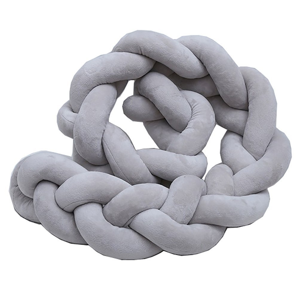 4M Length Newborn Baby Bed Bumper Pure Weaving Plush Knot Crib Bumper Kids Bed Baby Cot Protector Baby Room Decor