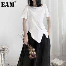 [EAM] Frauen Weiß Asymmetrische Split Gemeinsame T-shirt Neue Rundhals Kurzarm Mode Flut Frühling Herbst 2021 19A-a662