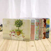 Creative large square exquisite pattern A4 paper dedicated storage iron box file certificate receipt storage finishing box