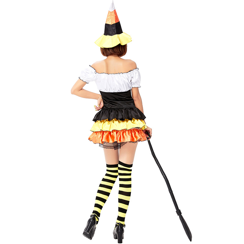 Halloween Carnival Magic Pumpkin Witch Costume Cute Little Witch Stage Show Holiday Festival Party Striped Stockings