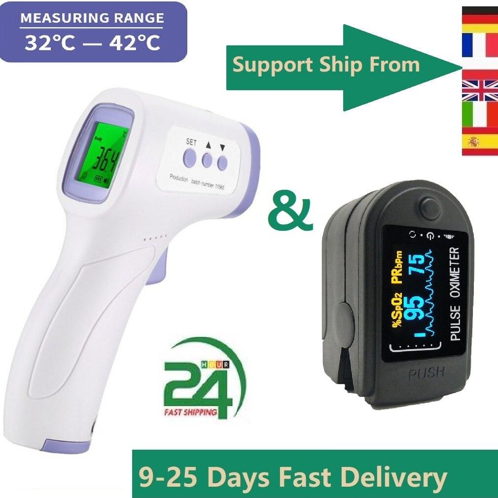 Портативный бесконтактный инфракрасный пистолет для измерения температуры лба, высокоточный термометр и импульсный кислородный импульс