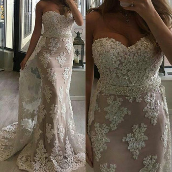 Fashion Mermaid Wedding Dresses Sweetheart Beaded Crystals Lace Applique Court Train Wedding Bridal Gowns With Detachable Train sweetheart girl camo wedding dresses with detachable train long bridal gowns camouflage formal real tree custom
