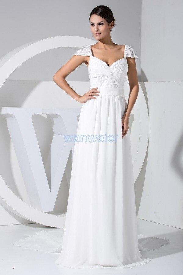 Free Shipping 2018 Hot New Design Beading Custom Color/size Cap Sleeve White Bridal Gown Chiffon Women Bridesmaid Dresses