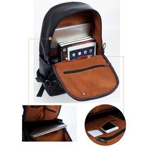 Image 5 - Erkek rahat okul Bookbag adam sırt çantası PU deri çanta su geçirmez omuz çantaları okul Packsack