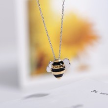 Korean Cute Bee Clavicle Chain 925 Sterling Silver Temperament Personality Fashion Female Jewelry Necklace(China)