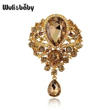 Brooch Pins Flower Gifts Crystal Waterdrop Palace-Style Weddings Women Baby Big