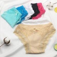 6 pçs/lote nova chegada 2021 algodão calcinha feminina sexy rendas roupa interior m l xl 9347