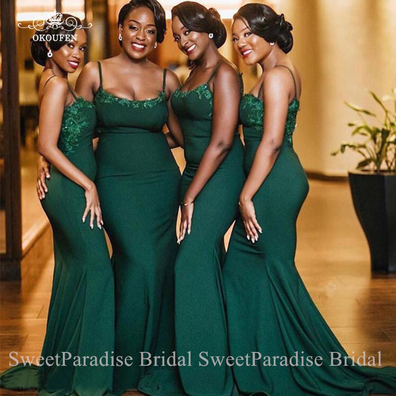 Green   Bridesmaid     Dresses   With Appliques Mermaid Vestido Madrinha Spaghetti Strap Long Junior Wedding Guest   Dress   For Women