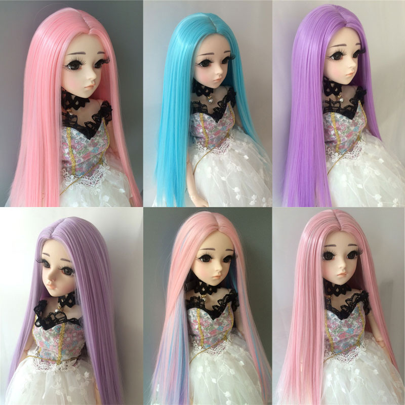 1/3 <font><b>1/4</b></font> 1/6 1/8 <font><b>bjd</b></font> sd <font><b>doll</b></font> long straight hair high temperature fiber hair blue <font><b>doll</b></font> <font><b>wig</b></font> multi-color <font><b>doll</b></font> accessories image