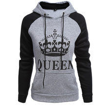 Queen Hoodie Winter Warm Hoodies For Women Long Sleeve Letter Printed Fashion Designer Pocket Sweatshirt Best Friend Casual цена в Москве и Питере