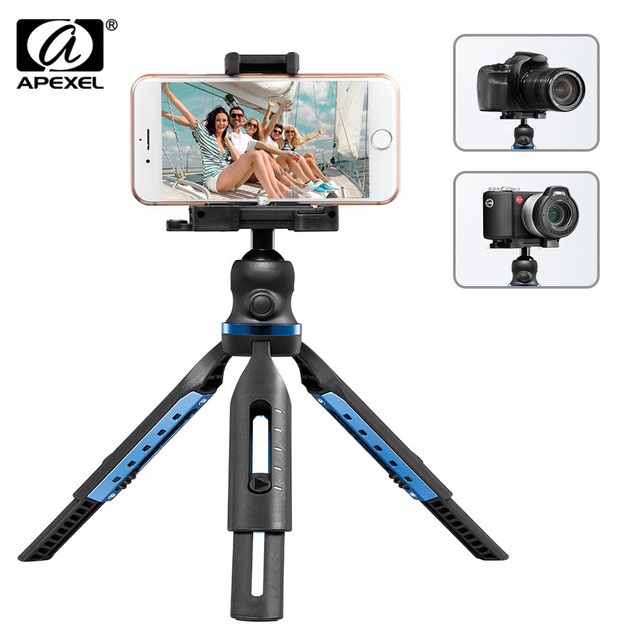 APEXEL 2 in 1 Phone Holder Mount Tripod DSLR Camera Phone Extendable Tripod For Gopro xiaomi iPhone Smartphone