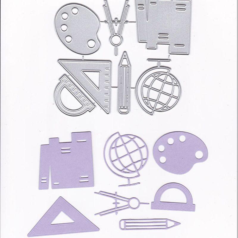 Triangle Ruler Metal Cutting Dies Stencil DIY Scrapbooking Album Stamp Paper Card Embossing Crafts Decor D08F