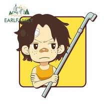 EARLFAMILY 13cm x One Piece Ace Cartoon Anime Car Sticker JDM Oem Polyethylene Helmet Motorcycle Accessories Waterproof