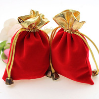 300pcs 7*9cm red Phnom Penh Velvet Bags woman vintage drawstring bag for Party/Jewelry/Gift diy handmade Pouch Packaging Bag