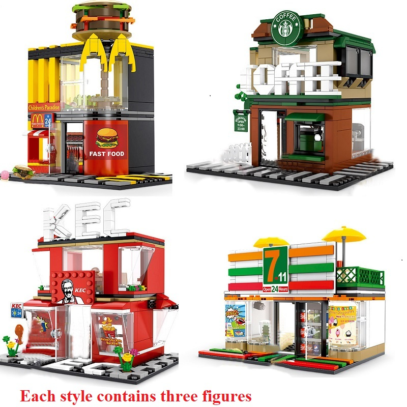 280+ PCS Mini City Street View Building Blocks Coffee Shop Hamburger Store City Diy Bricks Toys For Children Christmas GiftsBlocks   -