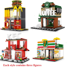 280+ PCS Mini City Street View Building Blocks Coffee Shop Hamburger Store City Diy Bricks Toys For Children Christmas Gifts