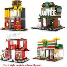 280 + PCS Mini Stadt Street View Bausteine Kaffee Shop Hamburger Shop Stadt Diy Ziegel Spielzeug Für Kinder Weihnachten geschenke
