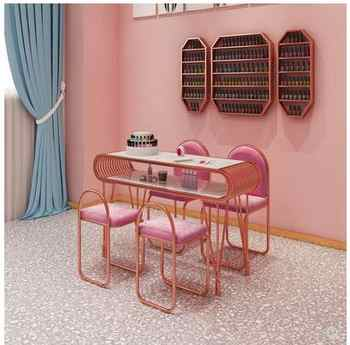 Ins net red marble manicure table and chair set single double gold iron double deck manicure worktable package - DISCOUNT ITEM  27 OFF Furniture