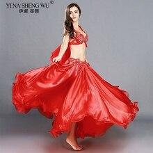 Trajes de danza del vientre profesional para adultos, conjunto de danza Oriental elegante, Top de danza del vientre, sujetador, falda larga, trajes para mujer