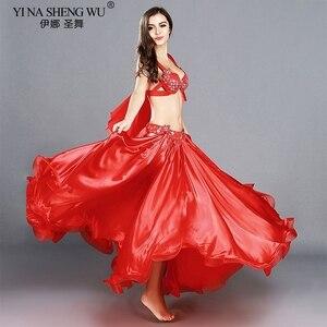 Image 1 - Trajes de danza del vientre profesional para adultos, conjunto de danza Oriental elegante, Top de danza del vientre, sujetador, falda larga, trajes para mujer