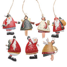Gifts Xmas Tree Embellishment Drop Ornaments Cartoon Angel Christmas Decor Painted Santa Claus Hanging Pendants Festival Supply(China)