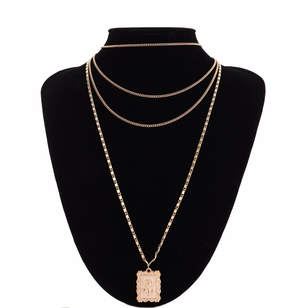 Ingemark Statement Multilayer Square Pendants Rose Pattern Circle Choker Necklace Clavicle Chain Fashion Jewelry for Women 6