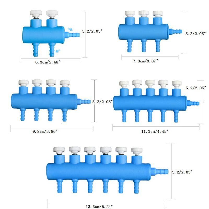 Multi Way Control Aquarium Tank Air Pump Air Flow Splitter Tube Pipe Steel US