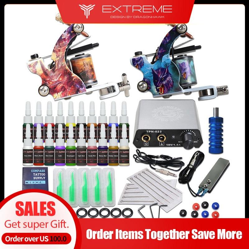 Beginner Complete Tattoo Kit Supplies 2 Machine Guns 20 Color Inks Power Supply Needles Grip Tip Set D175GD-13