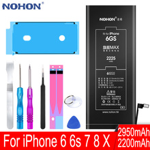 High Capacity NOHON Original Battery For Apple iPhone 6 S 6S 7 8 X iPone iPhoneX iPhone6s iPhone6 iPhone7 iPhone8 Replace Tools