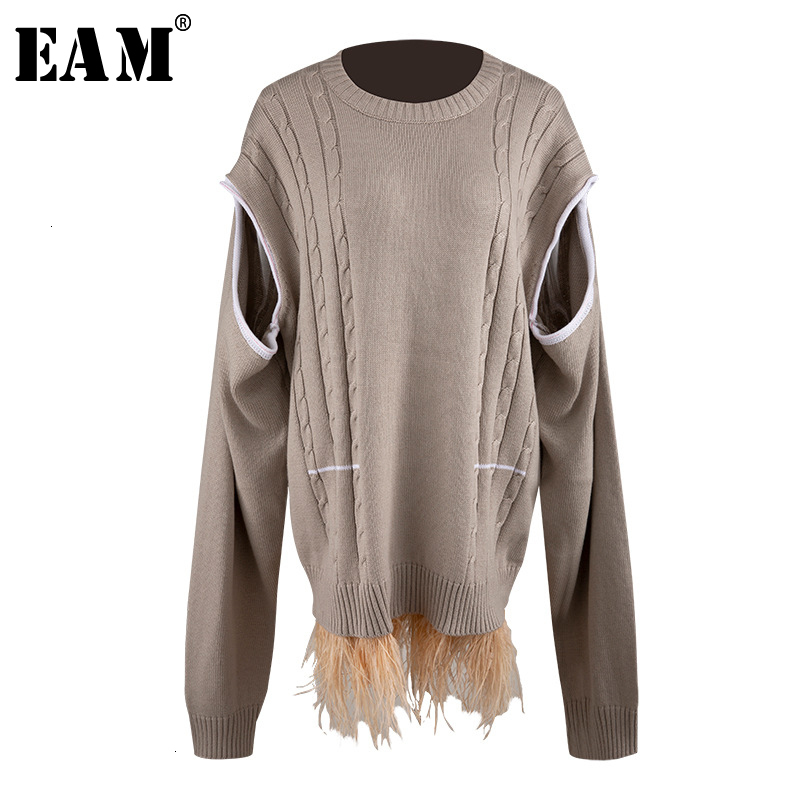 [EAM] Hollow Out Feather Split Knitting Sweater Loose Fit Round Neck Long Sleeve Women New Fashion Tide Autumn Winter 2019 1D784