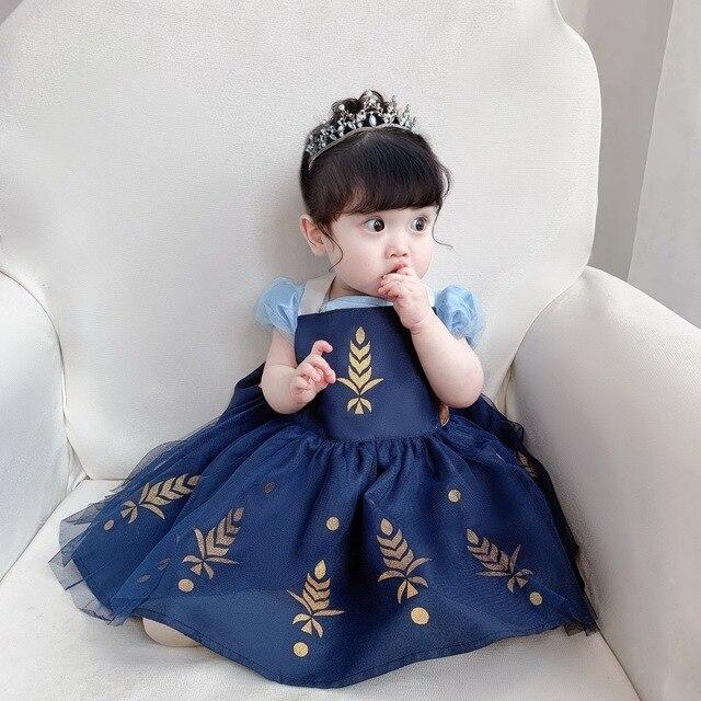 תינוק ילדה עמיד למים סינר שמלת בנות Cartoon נסיכת ציור סרבל שמלת כולל 2 7Y E1119