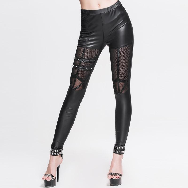 Punk Black PU Leather Legging Gothic Cotton Stitching Hollow Out Women Bandage Leggings See Through Web Elastic Legging