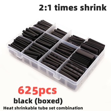 625ps Black boxed heat shrinktubing 2:1 electronic DIY kit, insulated polyolefin sheathed shrink tubing cables and cables tube