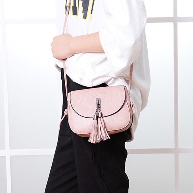 Fashion Messenger Bags  PU Leather Tassel Shoulder Crossbody Bag Solid Fashion Single Flap Handbags