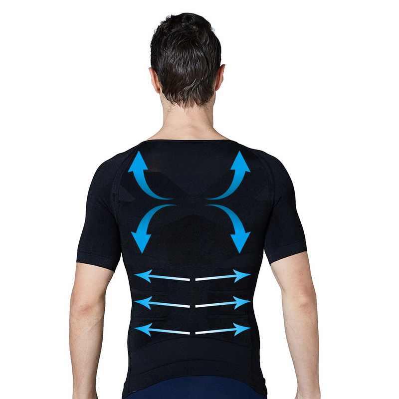 2019 Peito De Compressão Homens Camisa T Perder Peso Slimming Cintura Shapewear Shaper Espartilho Trainer Corrector Cueca Top Colete
