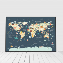 Sea Life Art Animal World Map Picture Children Poster Nursery Wall Art Canvas Print Painting Baby Kids Living Room Decoration