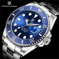 기계식 손목 시계 pagani design 브랜드 럭셔리 남자 시계 자동 블랙 시계 남자 스테인레스 스틸 방수 비즈니스 스포츠