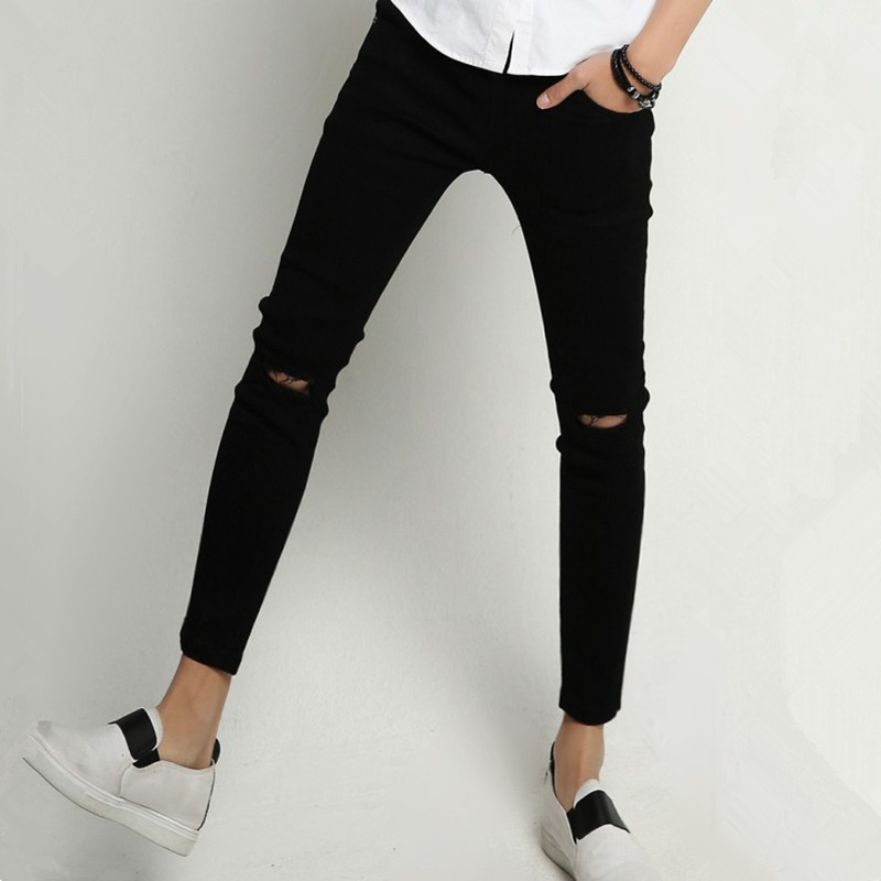 Korean-style A- Line Knee With Holes Black And White With Pattern Beggar MEN'S Jeans Pants Slim Fit Ankle Banded Pants Men's Cap