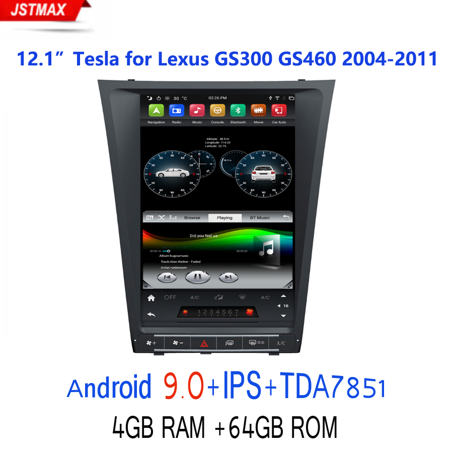 IPS PX6 Tesla style 12.1 Android 9.0 Car GPS multimedia for for GS300/GS460 GS450/GS350 2004-2011 AutoRadio Bluetooth 5.0 image