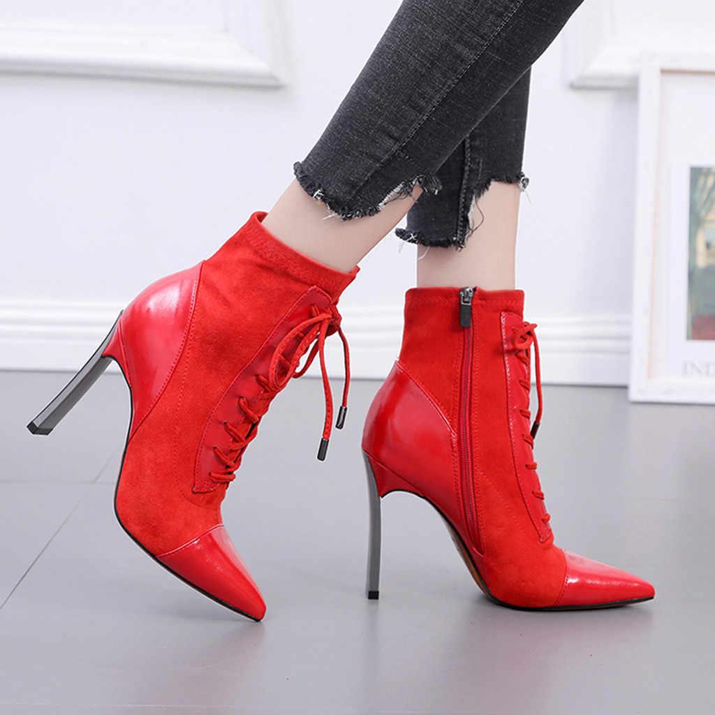 ผู้หญิงข้อเท้าข้อเท้าสำหรับสตรีเซ็กซี่สุภาพสตรีรองเท้าส้นสูง Elegant Stiletto Heel Zipper Cross ลูกไม้- up รองเท้าสั้น