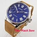 Мужские наручные часы Parnis  44 мм  17 драгоценностей  6497  светящиеся водонепроницаемые часы с римскими цифрами  королевским синим циферблатом и...