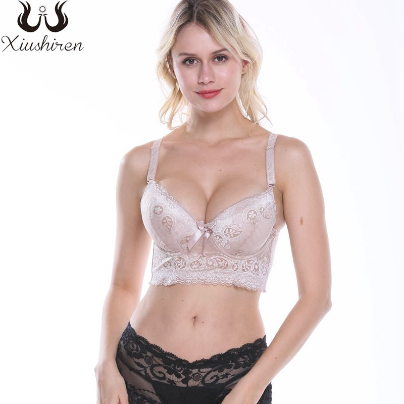 Women Plus Size Bra Lace Floral Underwire Soft Lining Push Up Everyday Bra
