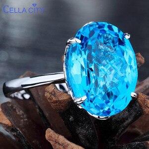 Image 3 - Женское серебряное кольцо с голубым топазом 12*16 мм, кольцо с аквамариновым драгоценным камнем, ювелирное изделие из цельного натурального серебра с драгоценным камнем, ювелирные украшения для помолвки
