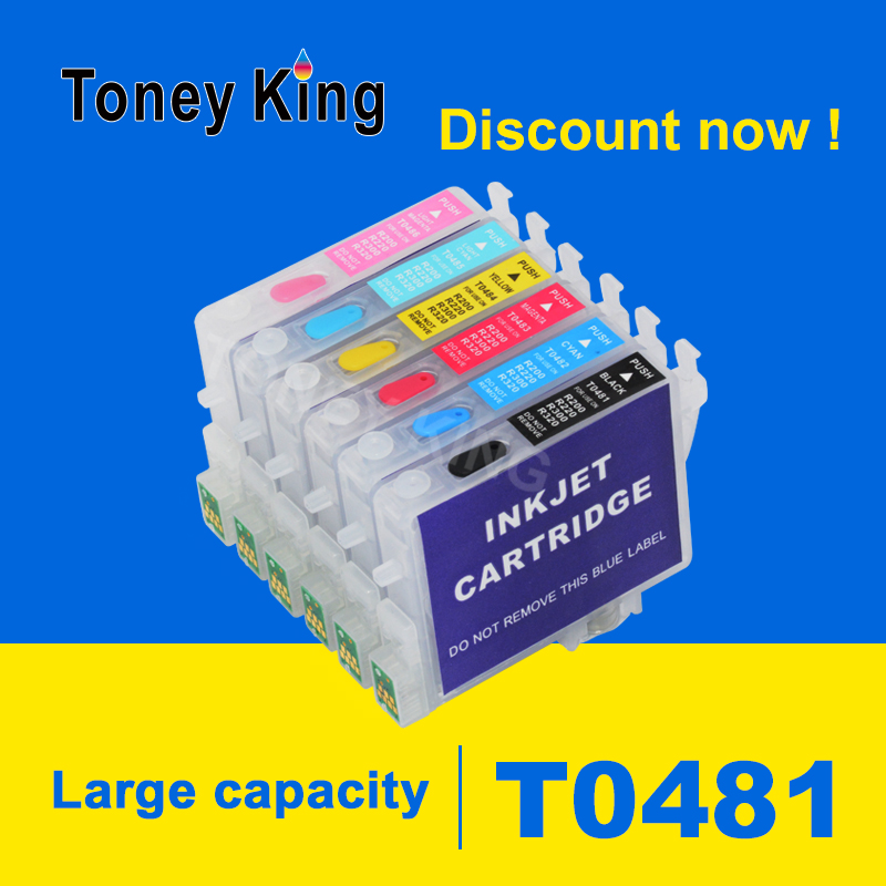 Toney King T0481 Refillable Ink Cartridge For Epson Stylus Photo R200 R220 R300 R300M R320 R340 RX500 RX600 RX620 RX640 Printer image